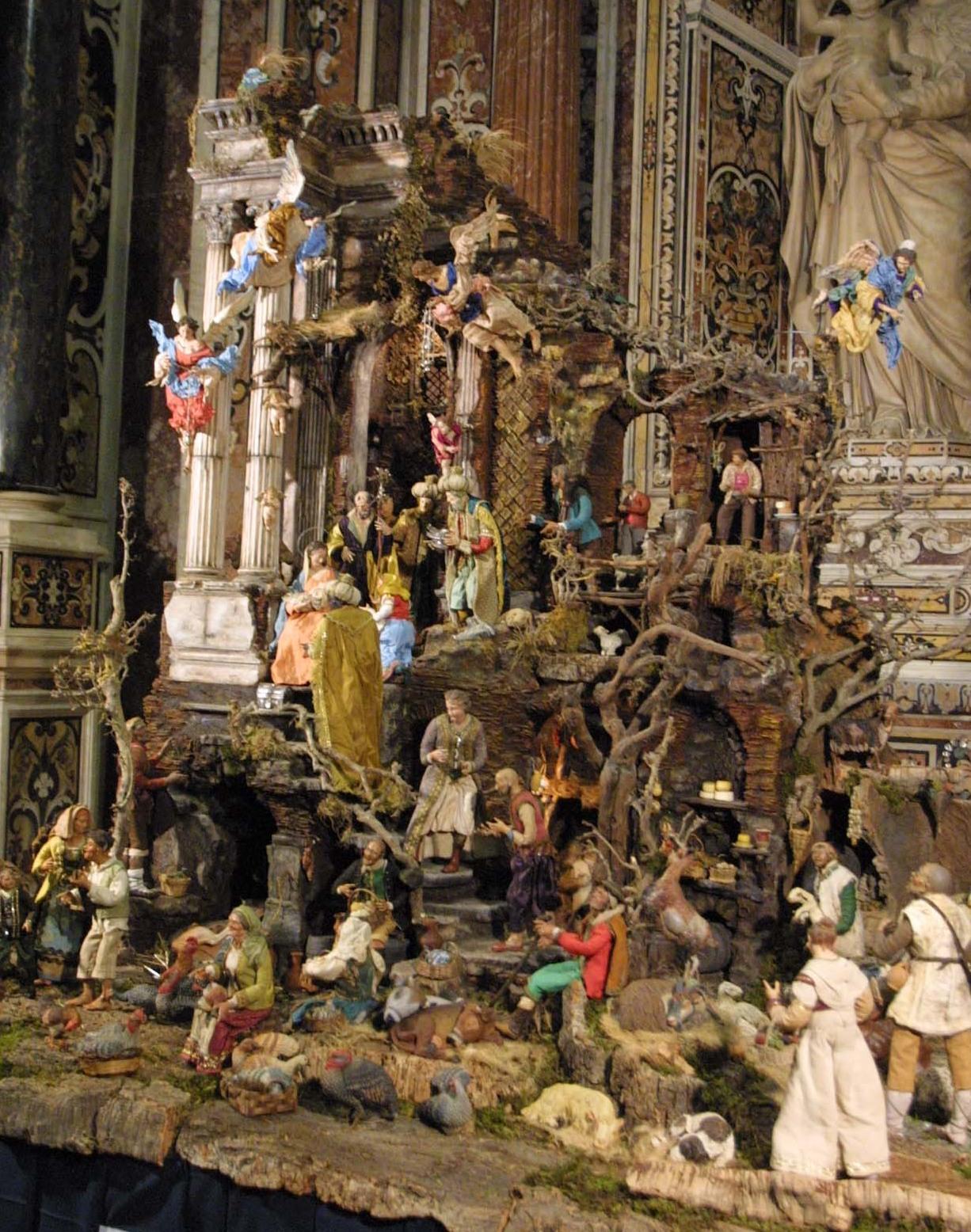 Scenografia presepiale napoletana di tipo '700 realizzata dal Maestro S. Costanzo. Pastori di autori vari, animali di Franco Centomani